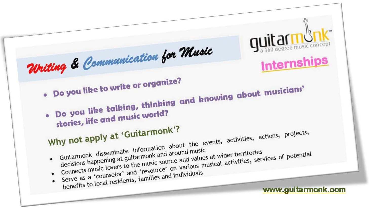 Writing and Communication for Music, Internships in